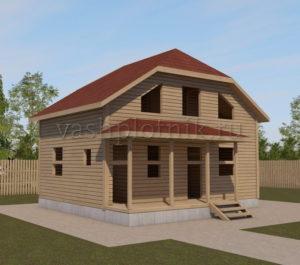 Сруб дома 6х8 с ломаной крышей