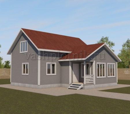 Проект каркасного дома с верандой